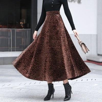 フレアスカート ロング レオパード柄 スカート レオパード スカート ロングスカート フレア レオパード柄 ロング丈 ウエストゴム 春 ブラウン こなれ感