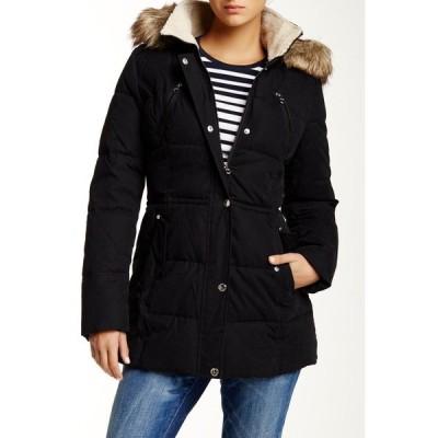 ナウティカ レディース ジャケット&ブルゾン アウター Faux Fur Hood Quilted Jacket BLACK