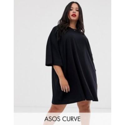 エイソス レディース ワンピース トップス ASOS DESIGN Curve oversized t-shirt dress Black