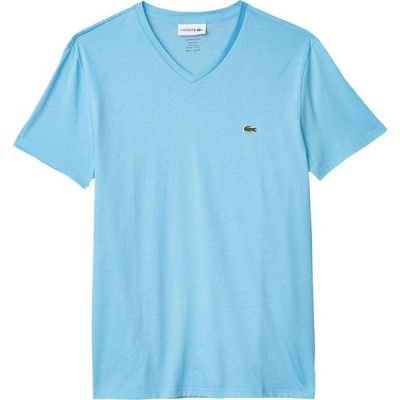 ラコステ Lacoste メンズ Tシャツ Vネック トップス Short Sleeve V-Neck Pima Jersey Tee Barbeau Blue