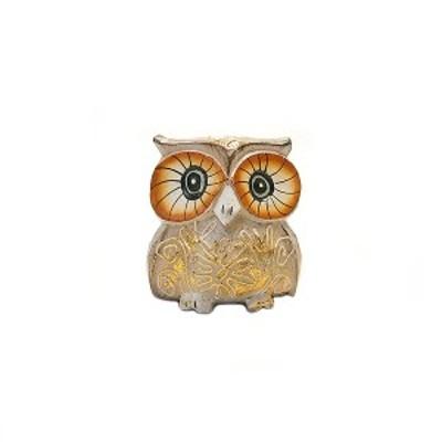 フクロウ インテリア 置物 木彫り ふくろう 木製 カラフル ベージュ Sサイズ G オブジェ 彫刻 卓上 玄関 バリ アジアン タイ 雑貨 小物