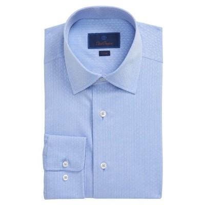 デイビッドドナヒュー シャツ トップス メンズ Trim Fit Floral Dress Shirt Blue