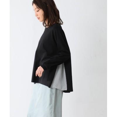 (Honeys/ハニーズ)脇異素材使いTシャツ/レディース ブラック