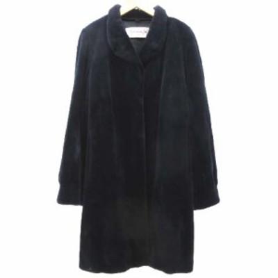【中古】NAKAMURA FUR 美品 シェアードミンク コート ロング 毛皮 リアルファー ジャケット Lサイズ 紺 ネイビー