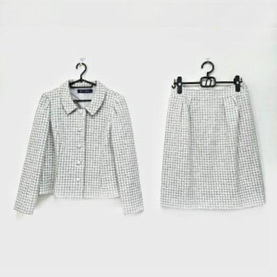 エムズグレイシー M'S GRACY スカートスーツ サイズ40 M レディース - グレーベージュ×白 千鳥格子柄【中古】20210317