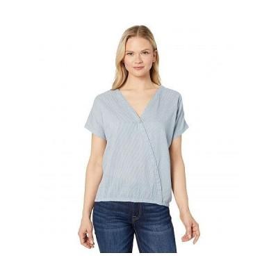 tentree レディース 女性用 ファッション Tシャツ Isa Woven Shirt - OC Stripe/Riviera Blue/Elm White