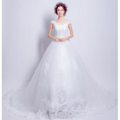 トレーンウェディングドレス フォマールドレス フェミニン パーティドレス 二次会 結婚式 Seet style お呼ばれドレス 編み上げ