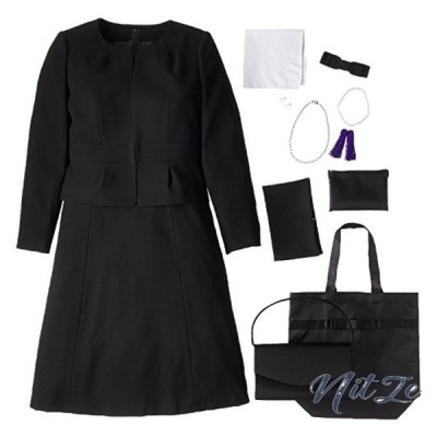(マーガレット)marguerite m433 ブラックフォーマル レディース 喪服 礼服 7点セット バッグ ネックレス イヤリン