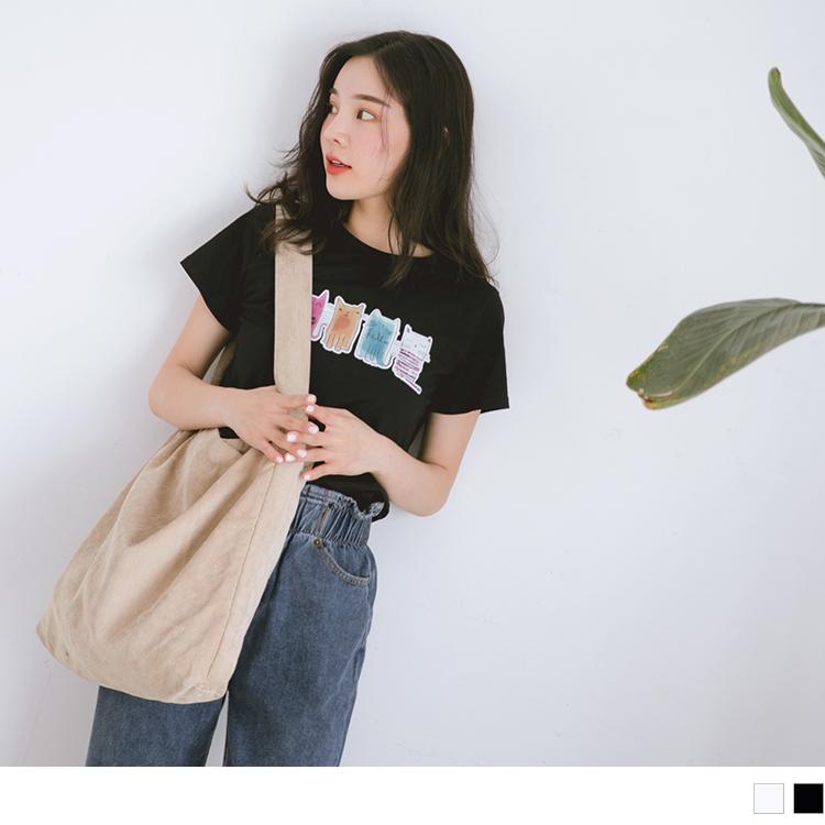 高含棉水彩手繪感可愛貓咪燙印圖T恤/上衣