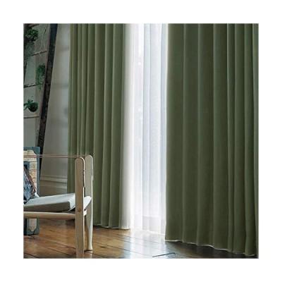 [窓美人] 1級遮光 「アラカルト」 カーテン 2枚 + アジャスターフック + カーテンタッセル リーフグリーン 幅100×丈90cm