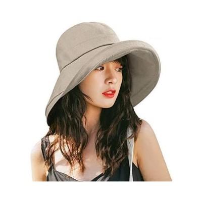 Kodi uvカット 帽子 レディース ハット キャップ 紫外線対策 日よけ ファッション 通気 つば広 カジュアル 小顔効果 女優 (ベージュ2)