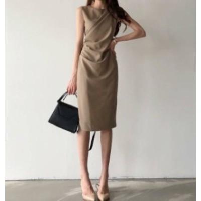 韓国 ファッション ワンピースドレス パーティードレス 結婚式 膝丈 ノースリーブ タイト スリット エレガント きれいめ 通勤 お呼ばれ