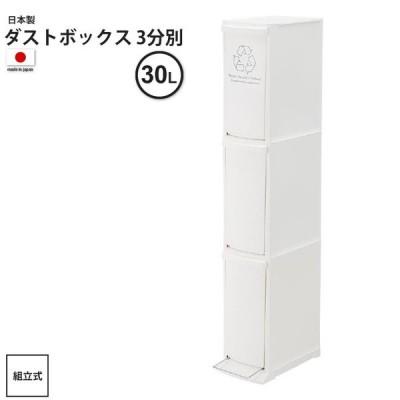 約30リットル:3分別 : ゴミ箱 おしゃれ ごみ箱 ダストボックス 3D LFS-933WH