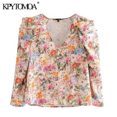 女性 2020 ファッション花柄フリルブラウスヴィンテージ v ネック長袖女性シャツ blusas mujer シックなトップス