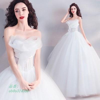 ウェディングドレス 編み上げ 二次会 ホワイト ベアトップ ビスチェドレス ブライダルドレス 披露宴 結婚式ドレス 花嫁 Aライン ロングドレス