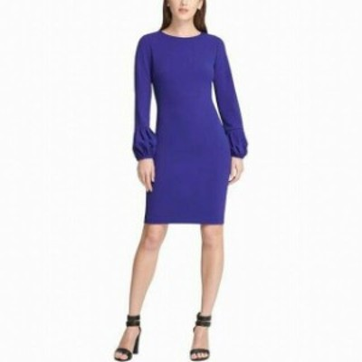 DKNY ダナキャランニューヨーク ファッション ドレス DKNY Womens Dress Blue Size 2 Sheath Bishop Sleeve Crepe Career