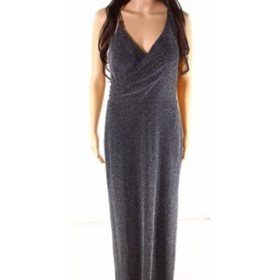 Betsy & Adam ベッツィアンドアダム ファッション ドレス Betsy & Adam NEW Black Silver Womens Size 10 Surplice Gown Dress