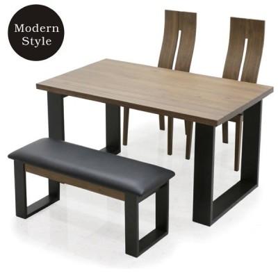 ダイニングテーブルセット 4点 ダイニングセット 無垢材 ベンチ チェア 天板厚み4cm 北欧 モダン 送料無料