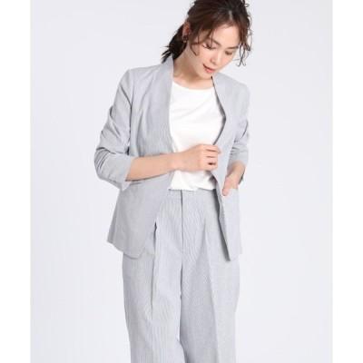 スーツ ジャケット 【洗えるセットアップ】コードレーンノーカラージャケット