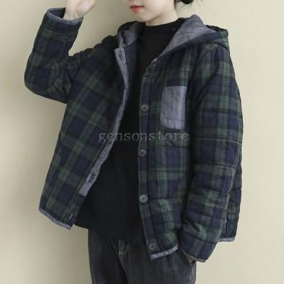 コート アウター レディース ダウンジャケット 秋冬 ジャケット ショート丈 チェック フード 厚手 中綿 キルティングジャケット 暖かい  防寒 大きいサイズ40代