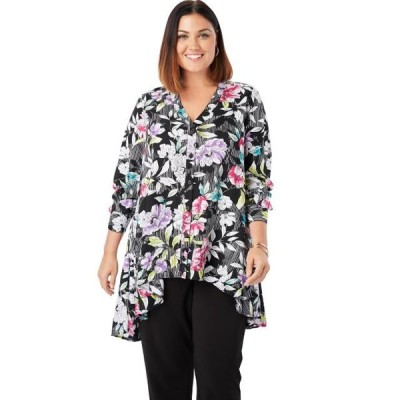 レディース 衣類 トップス Jessica London Women's Plus Size Hi-Low Georgette Tunic ブラウス&シャツ