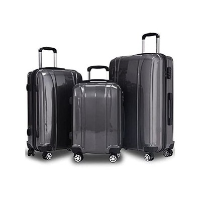 """20"""" 24"""" 28"""" Luggage Travel Set ABS+PC Trolley Suitcase Spinner Gray Set of"""