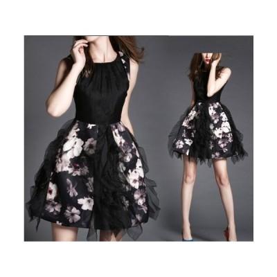 シルクオーガンザフラウンス☆フラワープリントドレス