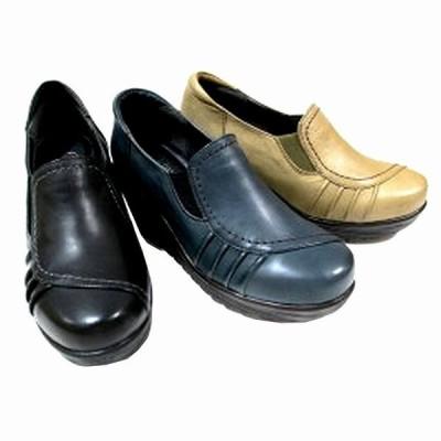 エアリーステップ Airystep 3991 レディース 天然皮革 カジュアルシューズ 厚底 ローヒール 楽ちん 仕事靴 ブラック ネイビー カーキ