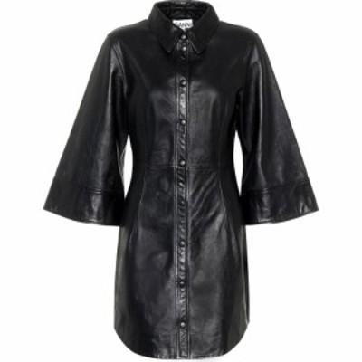 ガニー Ganni レディース ワンピース シャツワンピース ワンピース・ドレス leather mini shirt dress Black