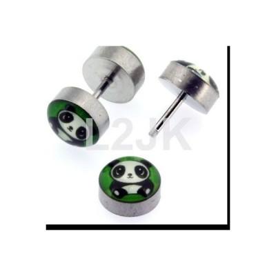 ボディピアスジュエリー アメリカン ジュエリー ヒップホップ Mens Fake Cheaters Illusion Ear Plugs 2G Look Panda Design 316L Surgical Steel