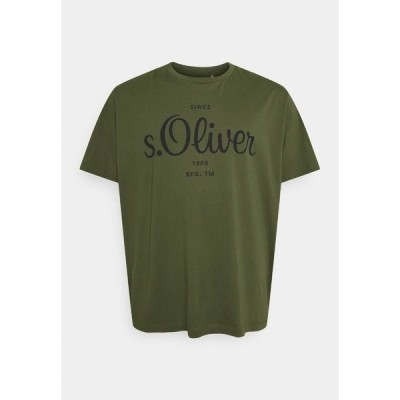 エスオリバー Tシャツ メンズ トップス KURZARM - Print T-shirt - khaki/oliv