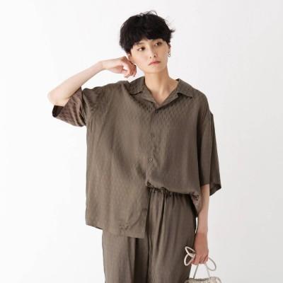 オペーク ドット クリップ OPAQUE.CLIP ペイズリージャガードサテン オープンカラーシャツ【UNISEX】 (ガンメタリック)