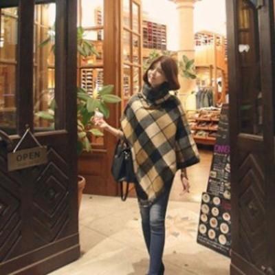 【即納】チェック柄 ポンチョ コート ハイネック 格子 チェック アウター 体型カバー ビッグシルエット ゆったり 大きいサイズ 秋冬
