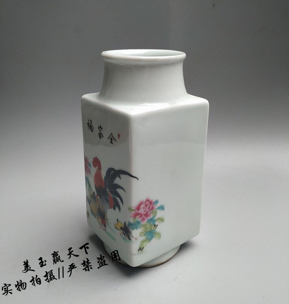 景德鎮陶瓷器小花瓶擺件公雞圖全家福花瓶客廳插花瓷器家居裝飾品