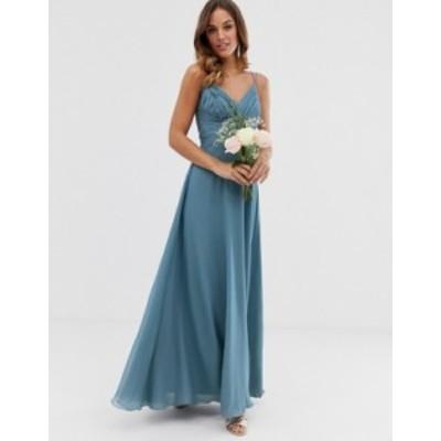 エイソス レディース ワンピース トップス ASOS DESIGN Bridesmaid cami wrap tie waist maxi dress with layered skirt Soft blue