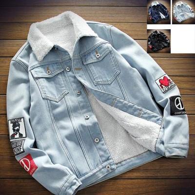 メンズ デニムジャケット コートジャンパー裏起毛裏ボア ジージャン 厚手 アウタドア冬物カジュアル3色