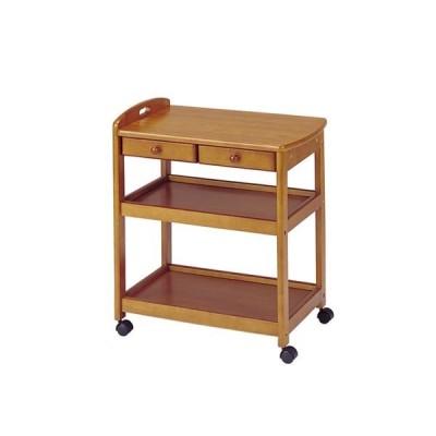 キッチンワゴン/キッチン収納 〔ブラウン〕 幅625×奥行425×高さ735mm 木製 キャスター 取っ手 引き出し付き 組立品〔代引不可〕