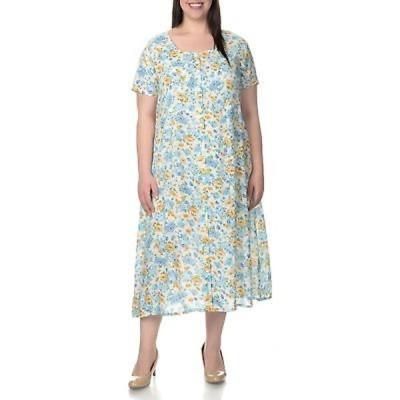 ラセラ ドレス La Cera Women's Plus Size Floral Pint Short Sleeve Casual Dress