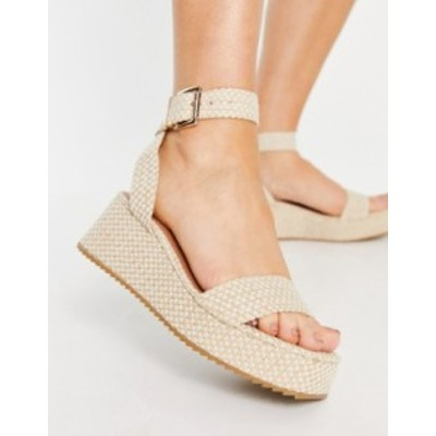 エイソス レディース サンダル シューズ ASOS DESIGN Tatiana flatform sandals in natural Natural