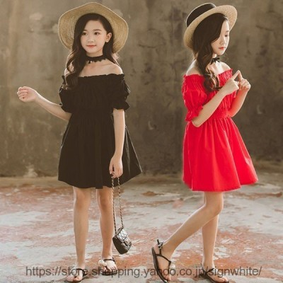 子供服 ワンピース キッズ 韓国子供服 女の子 ワンピース 半袖 無地 膝丈 夏服 肩出し ドレス フレアワンピ ベビー ワンピース 姫 可愛い 通学着/通園着