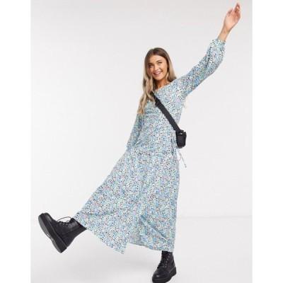 エイソス レディース ワンピース トップス ASOS DESIGN maxi wrap smock dress with long sleeves in floral print