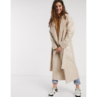 エイソス レディース コート アウター ASOS DESIGN vinyl trench coat in nude Nude
