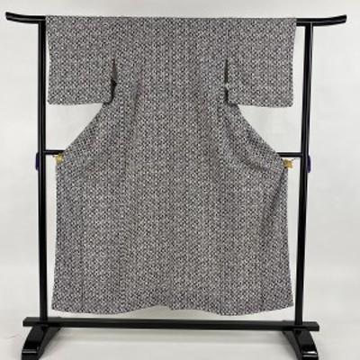 小紋 優品 丸文 幾何学文様 黒灰 袷 身丈154cm 裄丈62cm S 正絹 中古