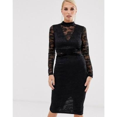 アックスパリス AX Paris レディース ワンピース ミドル丈 ワンピース・ドレス lace long sleeve midi dress ブラック