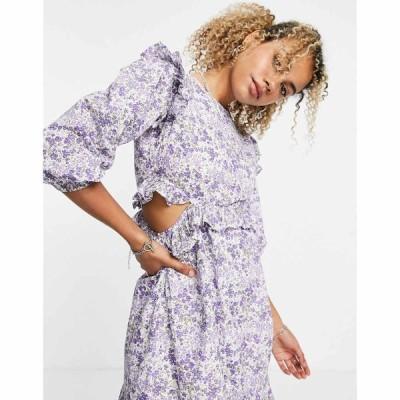 ヴァイオレット ロマンス VIOLET ROMANCE レディース ワンピース ミニ丈 Violet Romance cotton poplin mini dress with cut out sides in ditsy floral