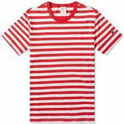 Champion Reverse Weave メンズトップス Champion Reverse Weave Classic Stripe Tee Red &