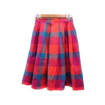 【中古】ビアンカズクローゼット Bianca's closet フレアスカート ミモレ ロング チェック S ピンク /MN レディース 【ベクトル 古着】