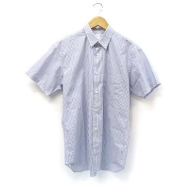 【中古】コムデギャルソンシャツ COMME des GARCONS SHIRT ストライプ 半袖 コットン シャツ ブルー S メンズ 【ベクトル 古着】