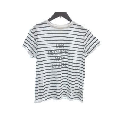 【中古】ミラオーウェン Mila Owen Tシャツ カットソー クルーネック 半袖 ボーダー プリント 0 白 ホワイト チャコールグレー レディース 【ベクトル 古着】