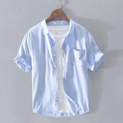 オックスフォードシャツ メンズ 半袖 無地 ポケット付き カジュアルシャツ シンプル 夏 新作